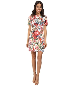 Painted Print Sheath Dress by Adrianna Papell in Rosewood