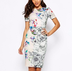 Floral T-Shirt Scuba Bodycon Midi Dress by Asos in Jane the Virgin