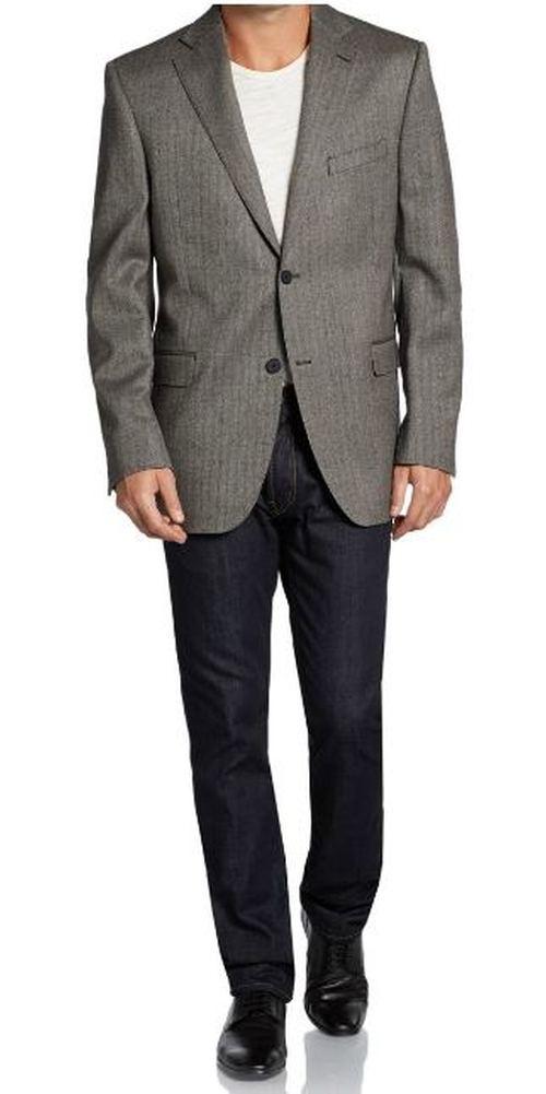 Wool Classic-Fit Herringbone Sportcoat by Saks Fifth Avenue BLACK in Gone Girl