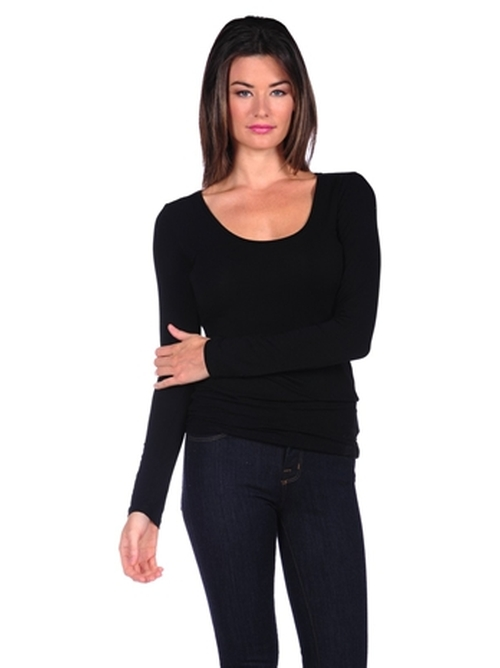 Long Sleeve Scoop Neck T-Shirt by Majestic in GoldenEye