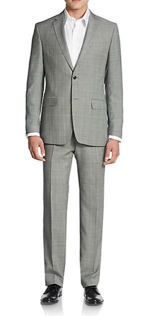 Glen Plaid Virgin Wool-Blend Suit by Versace Collection in Rosewood