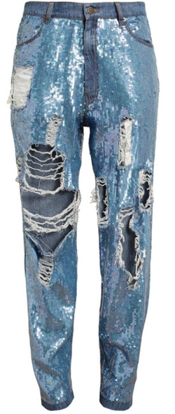 Distressed Sequin Denim Jeans by Ashish in Empire