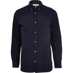 Navy Long Sleeve Oxford Shirt by River Island in Ouija