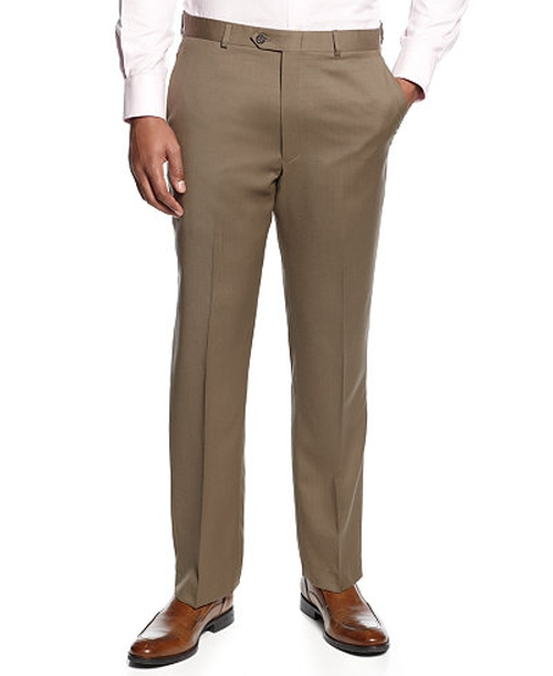 Tan Flat-Front Dress Pants by Lauren Ralph Lauren in Sully