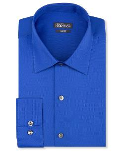 Slim-Fit Royal Blue Solid Dress Shirt by Kenneth Cole Reaction in Transcendence