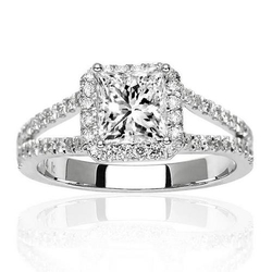 Halo Split Shank Princess Cut Diamond Ring by Chandni Jewels in Ballers
