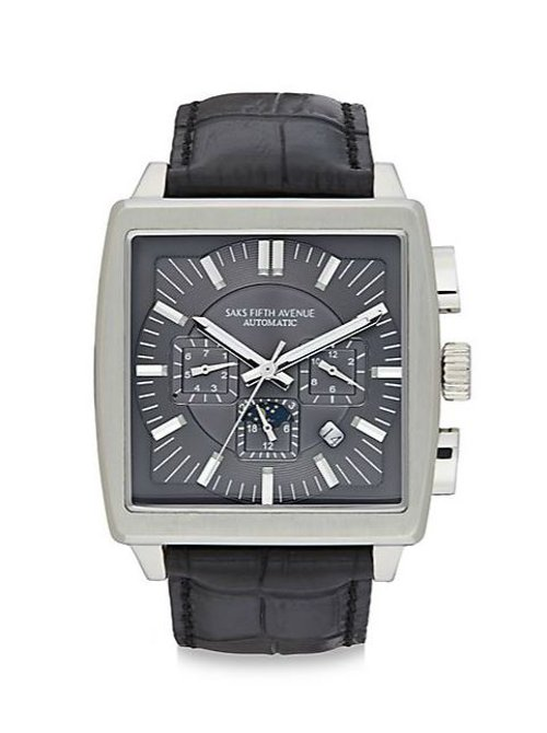 Stainless Steel Automatic Watch by Saks Fifth Avenue in Entourage