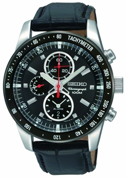 Chronograph Black Dial Leather Strap Watch by Seiko in Point Break