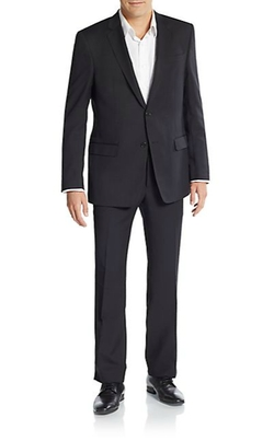 Regular-Fit Solid Wool Suit by Versace Collection in Arrow