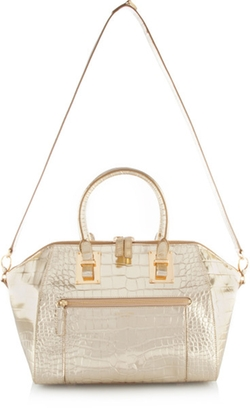 Whitney Metallic Croc Satchel Handbag by Henrey Bendel in Scream Queens