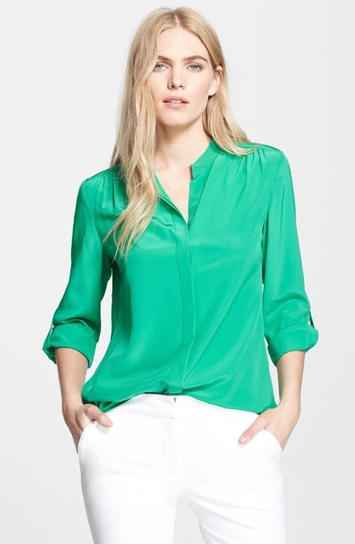 'Gilmore' Blouse by Diane Von Furstenberg in Spy