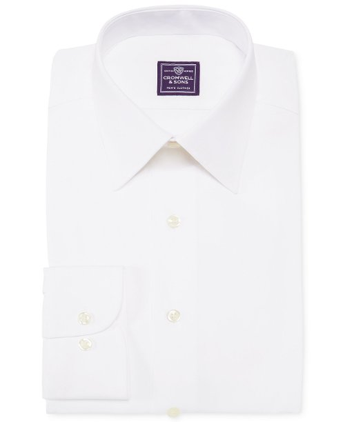 White Solid Dress Shirt by Cromwell and Sons in Taken 3
