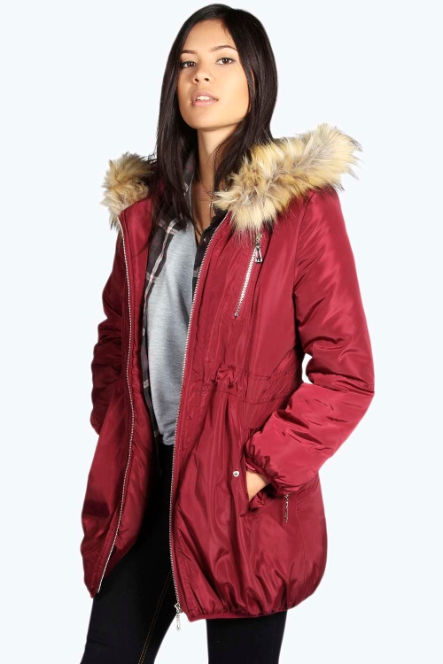 Faux Fur Lined Hood Parka Jacket by Boohoo in The Visit