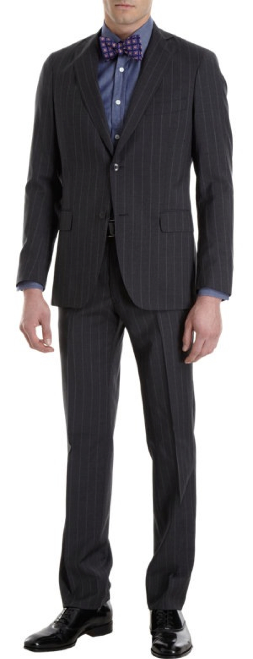 High-Stripe Two-Button Two-Piece Suit by Armani Collezioni in Crazy, Stupid, Love.