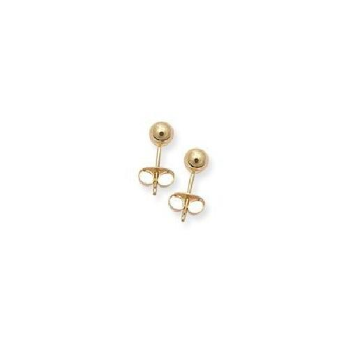 14k Yellow Gold Small Size, 3mm Ball Stud Earrings by EarringsDirect Collection in Sabotage