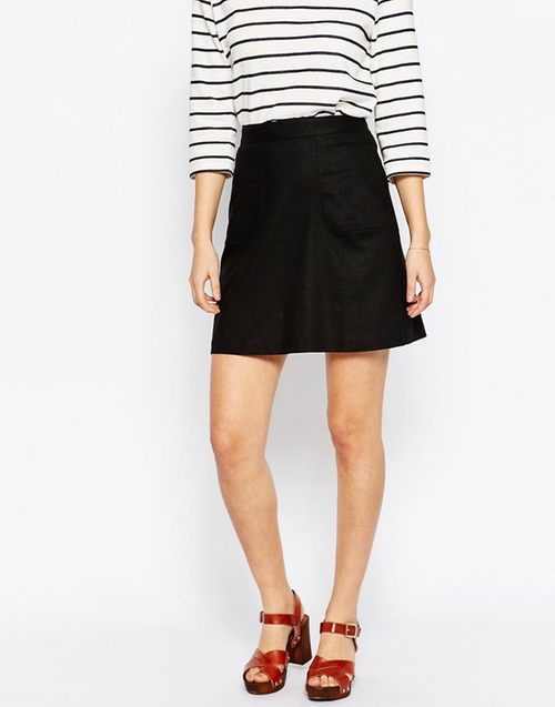 A-Line Linen Skirt by ASOS in The Boss
