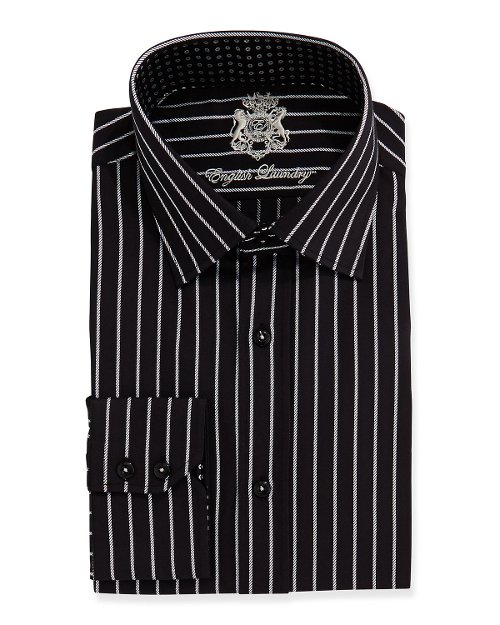 Striped Long-Sleeve Dress Shirt by English Laundry in Only God Forgives