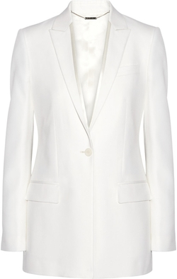 Satin-Trimmed Blazer in Cream Grain De Poudre Wool by Givenchy in Empire
