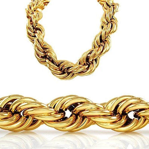 Gold Style Thick Rope Hip Hop Chain Necklace by H2W in Straight Outta Compton