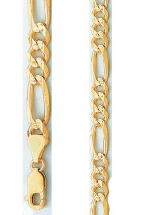 Yellow Gold Diamond Cut Figaro Chain Solid Necklace by Jewel Tie in Pain & Gain