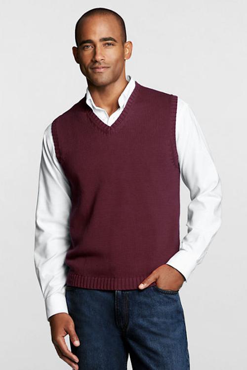 Men's Regular Drifter Sweater Vest by Lands' End in Yves Saint Laurent