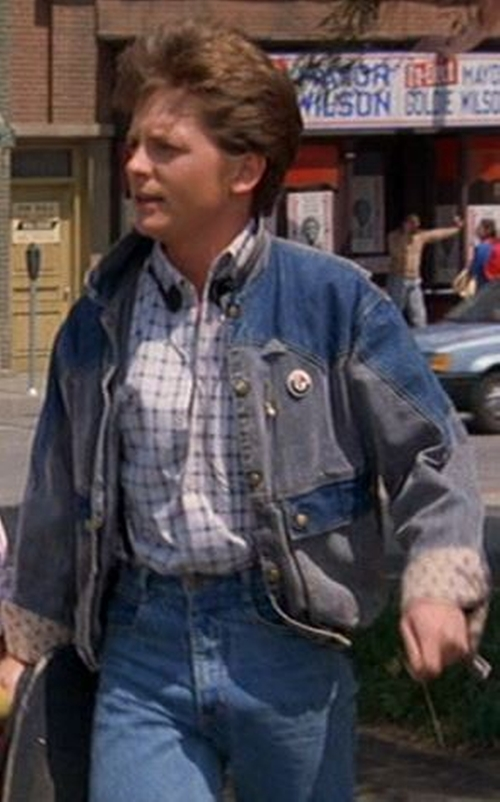 Two-Tone Blue Denim Jacket by Guess Marciano in Back To The Future