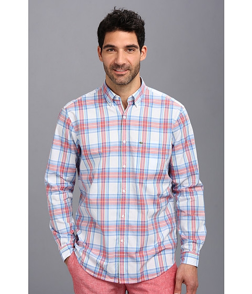 Plaid Cotton Twill Long Sleeve Button-Up Shirt by American Apparel in The D Train