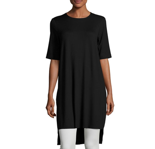 Short-Sleeve Jersey Tunic Top by Eileen Fisher in Grace and Frankie - Season 2 Episode 8