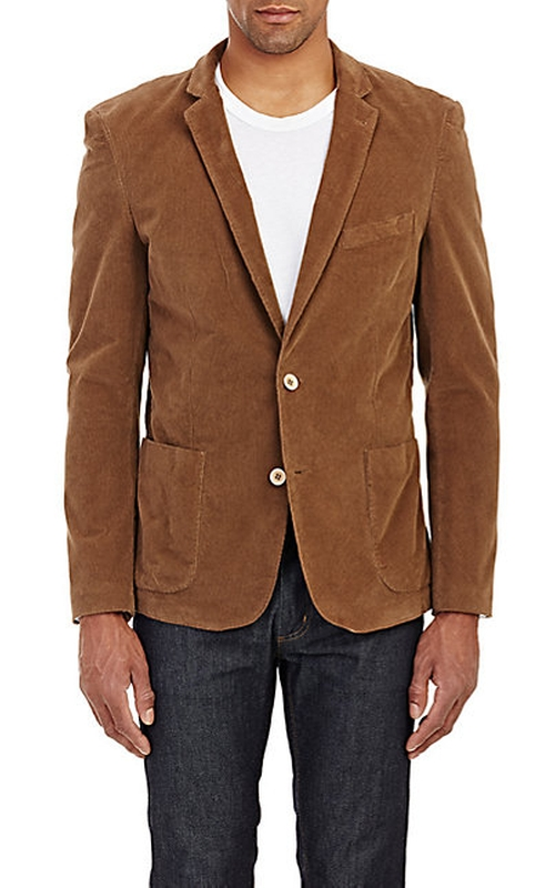 Corduroy Two-Button Sportcoat by Piattelli in Fifty Shades of Black