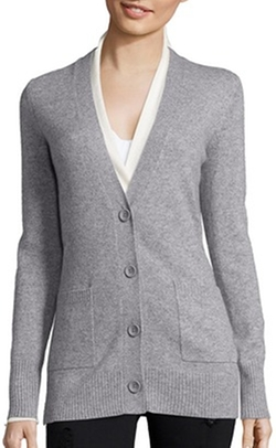 Light Grey Cashmere V-Neck Button Front Boyfriend Cardigan by Hayden in Suicide Squad