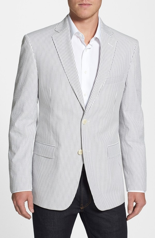 'Victor' Classic Fit Seersucker Stripe Cotton Sport Coat by JB Britches in Fight Club