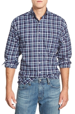 'Colonnade Plaid - Murray' Classic Fit Twill Sport Shirt by Vineyard Vines in Modern Family