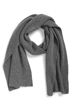 Seed Stitch Wool & Cashmere Knit Scarf by Calibrate in Arrow