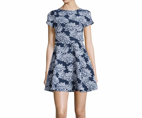 Short-Sleeve Floral-Print Party Dress by Shoshanna in The Great Indoors - Season 1 Preview