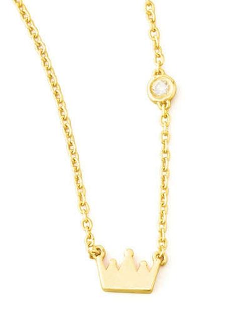 Crown Bezel-Diamond Pendant Necklace by Shy by Sydney Evan in Focus