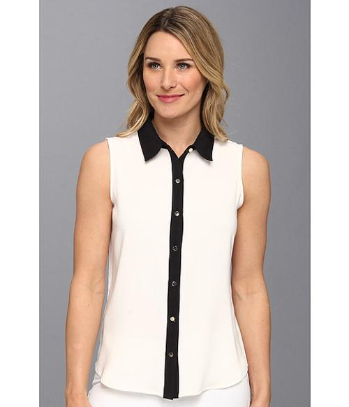 Sleeveless Color Block Button Down by Calvin Klein in The Other Woman