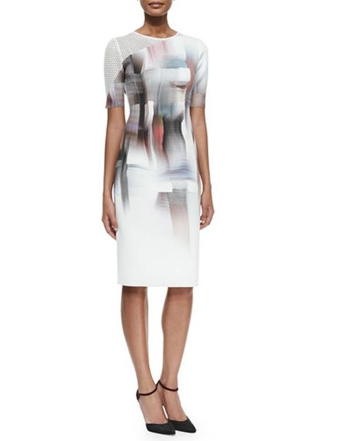 Carla Graphic-Print Sheath Dress w/ Mesh Sleeve by Elie Tahari in The Flash - Season 2 Episode 1