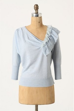 Oblique Pointelle Pullover by Anthropologie in Pitch Perfect