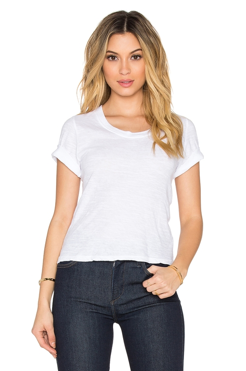 X Revolve Granite Jersey Crop Tee by Monrow in Clueless