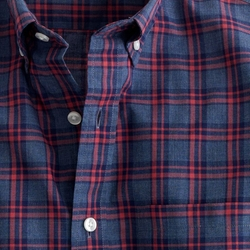 Heather Navy Check Secret Wash Shirt by J.Crew in Arrow