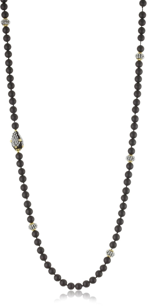 Matte Onyx Long Strand Beaded Necklace by Miguel Ases in We Are Your Friends