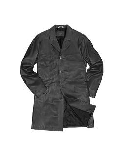 Men's Black Italian Genuine Leather Coat by Forzieri in Jupiter Ascending