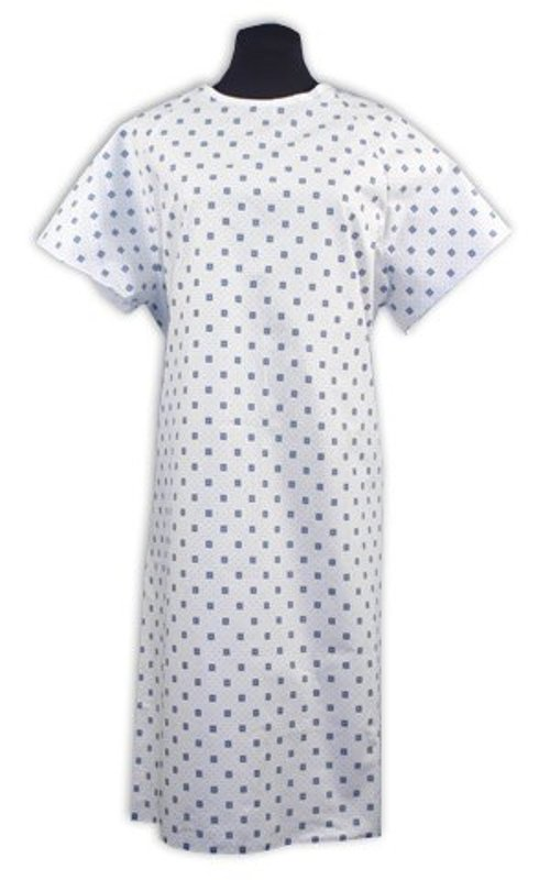 Demure Print Hospital Gown by Nobles Health Care in That Awkward Moment