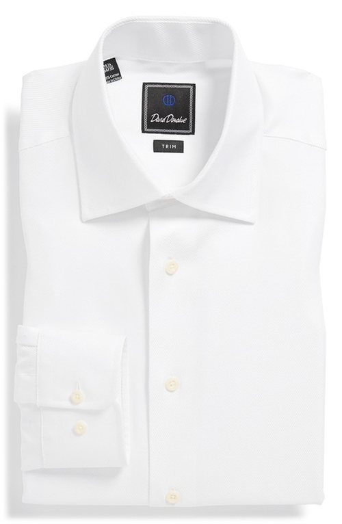 Trim Fit Solid Dress Shirt by David Donahue in Mr. & Mrs. Smith