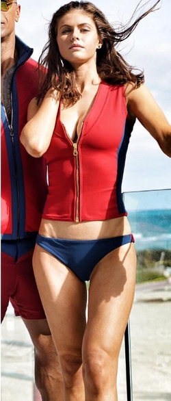 Custom Made Lifeguard Full Zip Two Piece Swimsuit by Dayna Pink (Costume Designer) in Baywatch