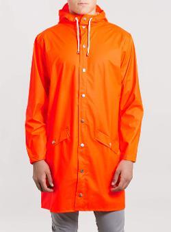 Orange Long Waterproof Jacket by Rains in Man of Steel