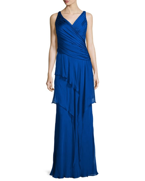 Sleeveless Ruffle-Front Column Gown by Carmen Marc Valvo in Wonder Woman
