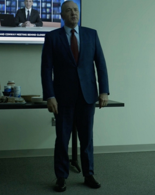 Custom Made Blue Notch Lapel Suit by Hugo Boss in House of Cards - Season 4 Episode 9