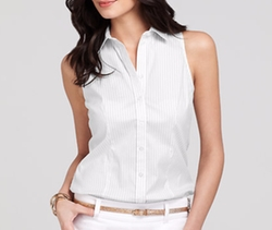 Striped Stretch Cotton Sleeveless Button Down Shirt by Ann Taylor in Pitch Perfect 3