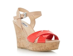 Cross Over Strap Cork Effect Wedge Sandal by Dune London in Rosewood